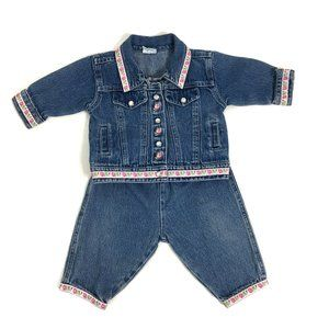 Vintage Baby Girl Jean Outfit Set Denim Jacket